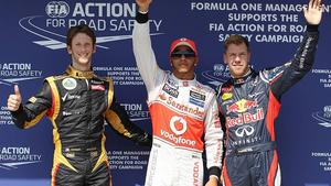 Romain Grosjean; Lewis Hamilton; Sebastian Vettel